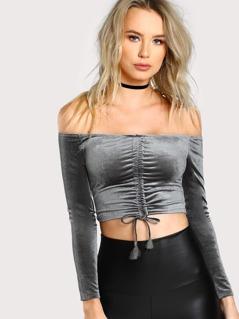 Bardot Shirred Front Crop Tee