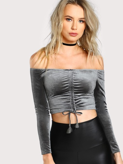 Bardot Shirred Front Crop Tee