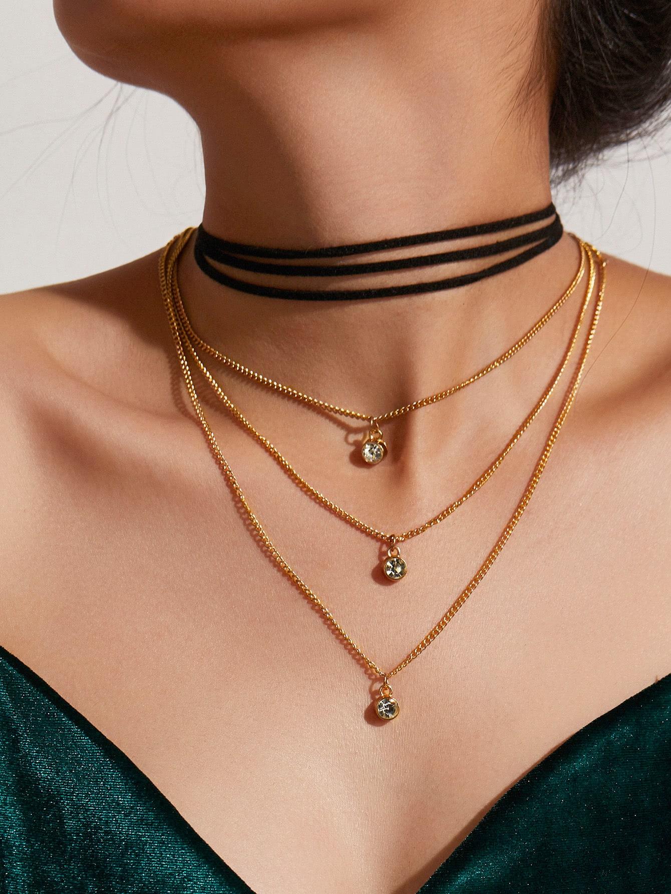 Rhinestone Pendant Necklace & Velvet Choker Set цена 2017