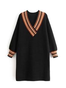 Striped V Neck Rib Sweater Dress