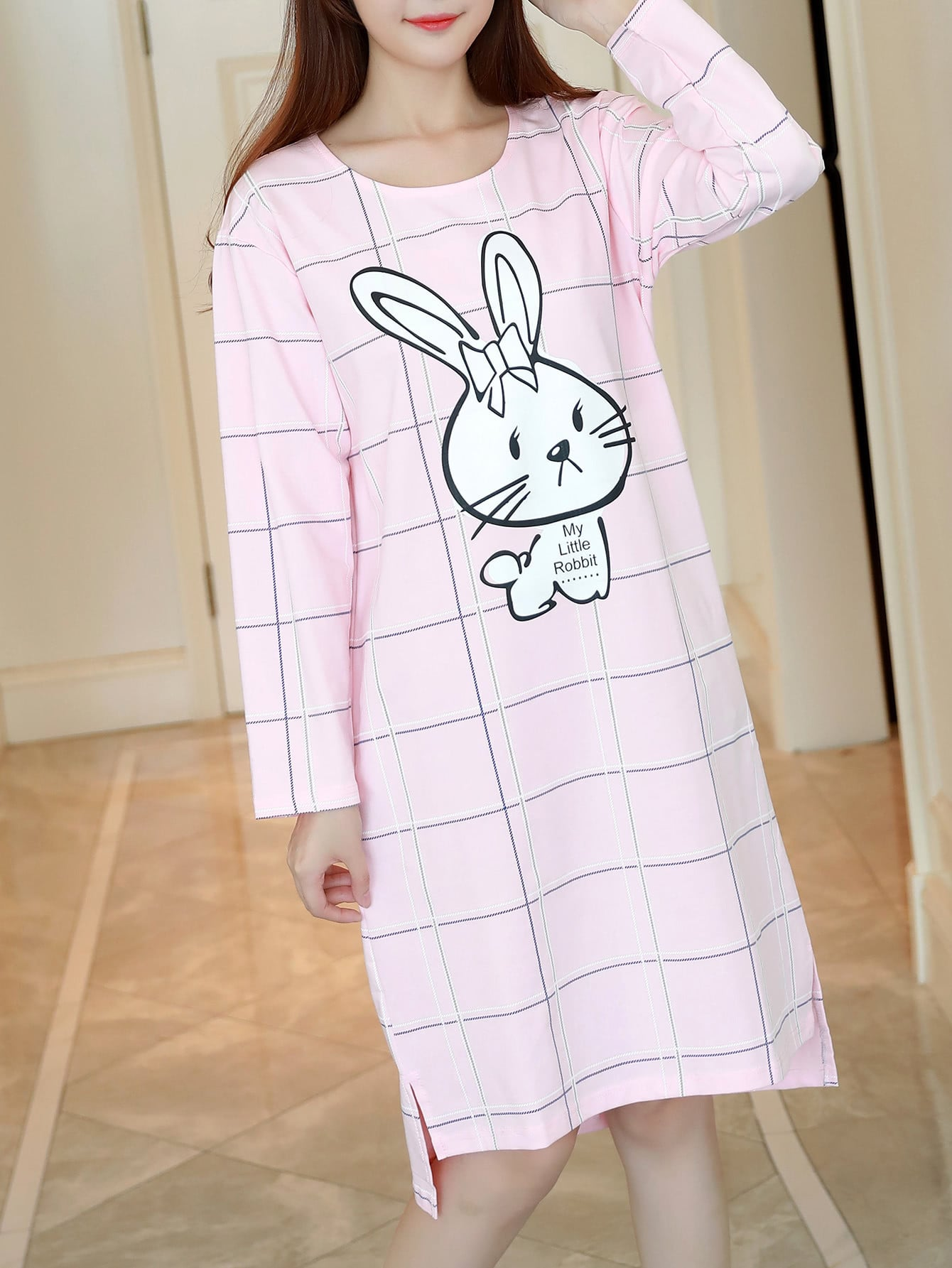 Cartoon Rabbit Print Slit Side High Low Nightdress rabbit print pullover