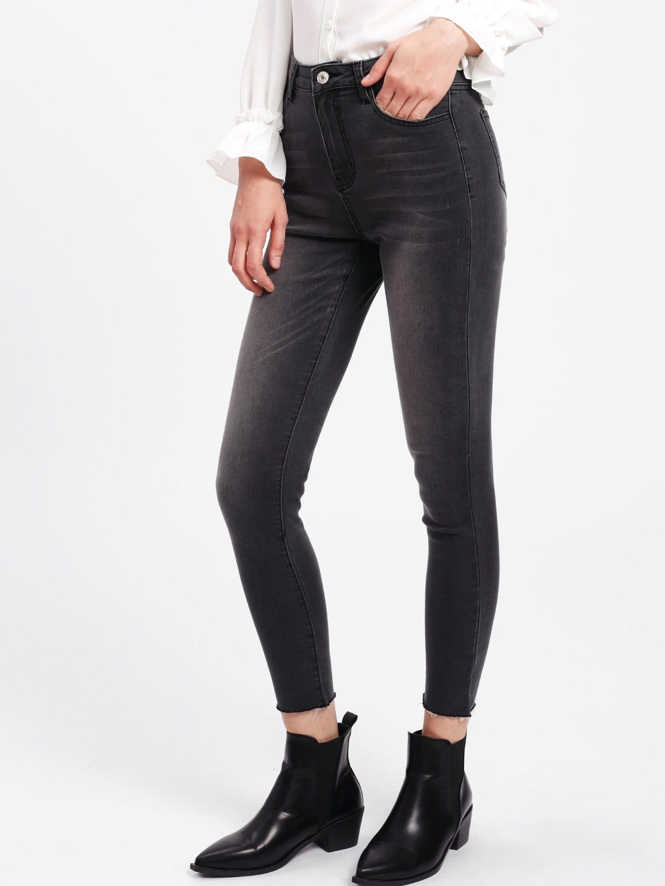 Dark Washed Raw Hem Jeans джинсы мужские g star raw 604046 gs g star arc