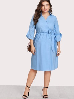 Split Side Overlap Wrap Dress