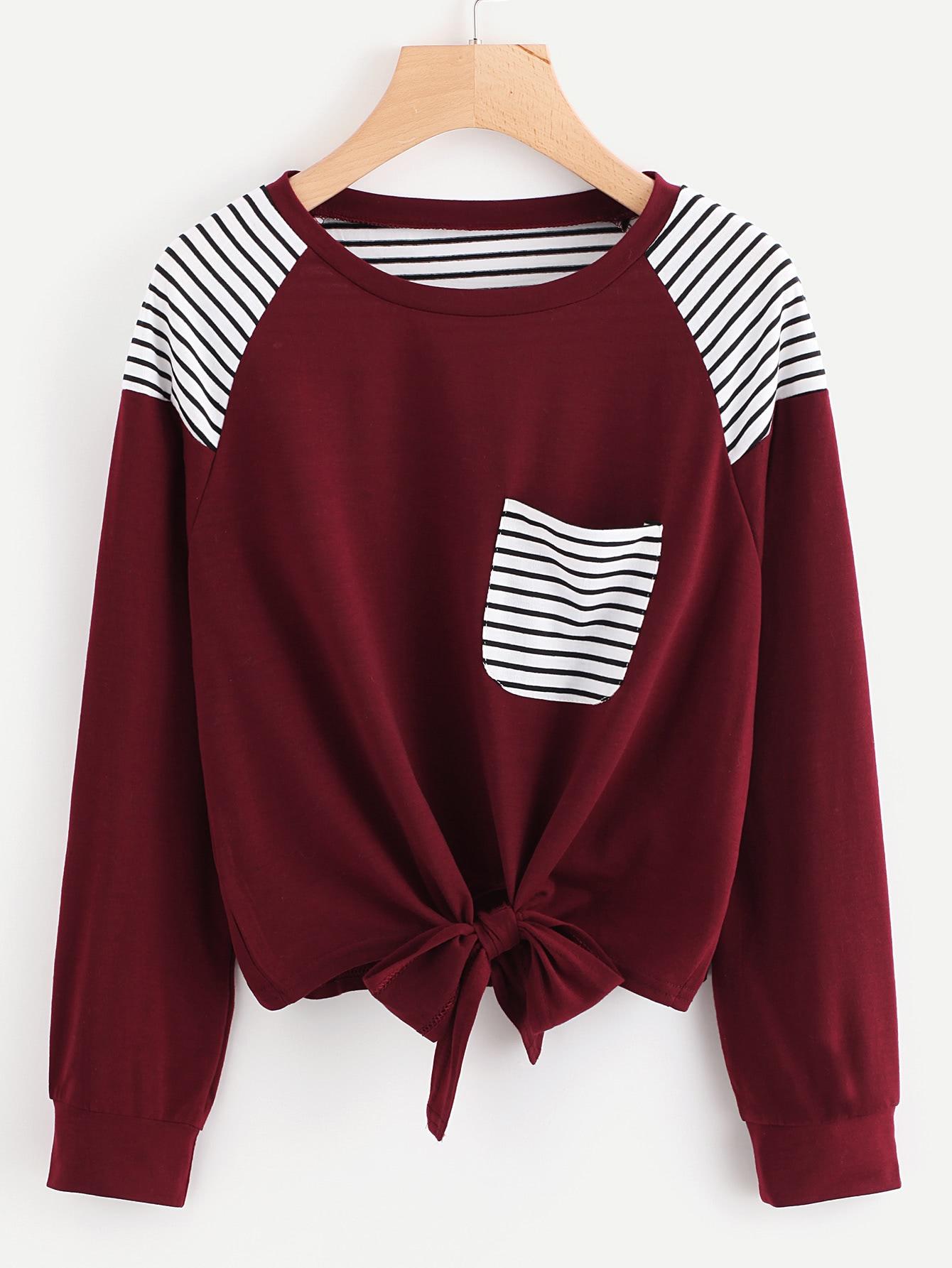 Bow Tie Front Stripe Panel Raglan Sweatshirt bow tie front drop shoulder sweatshirt