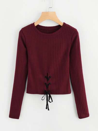 Eyelet Lace Up Knit Sweater