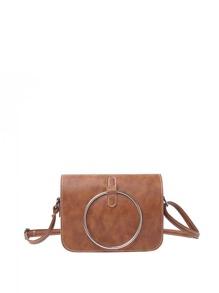 Ring Front Flap Shoulder Bag
