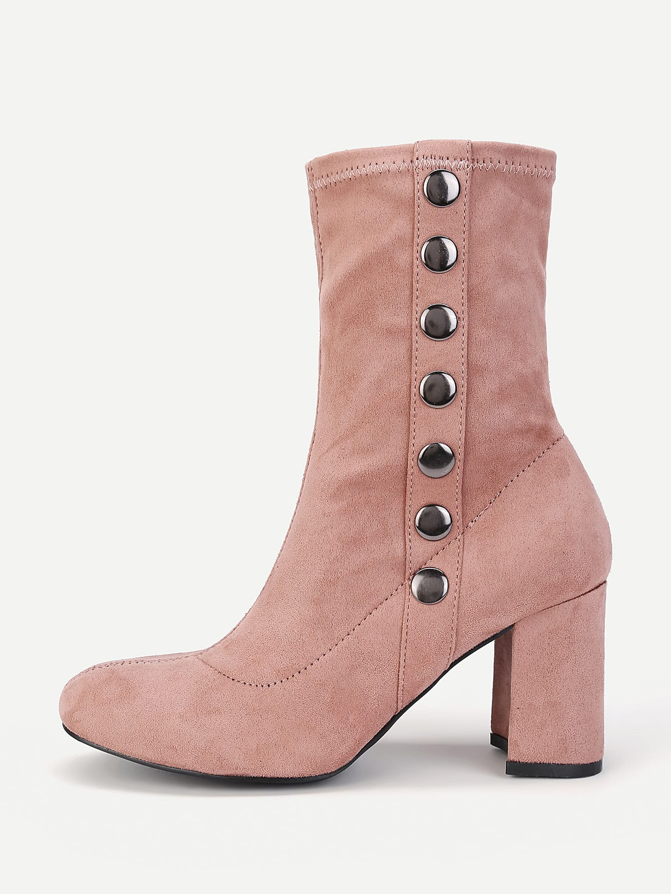Side Button Block Heeled Ankle Boots