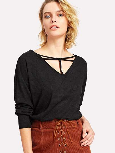 V Neckline Hollow Detail Tee