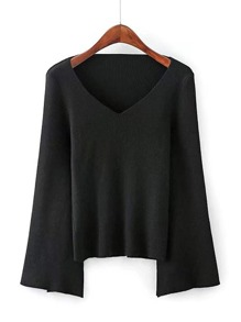 Slit Sleeve V Neckline Knitwear