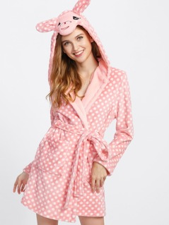 Polka Dot Faux Fur Cartoon Robe