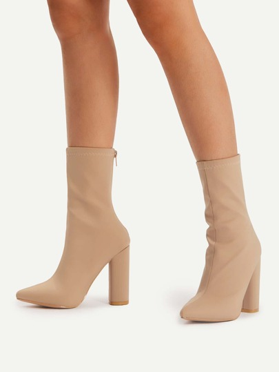 Back Zipper Block Heeled Boots