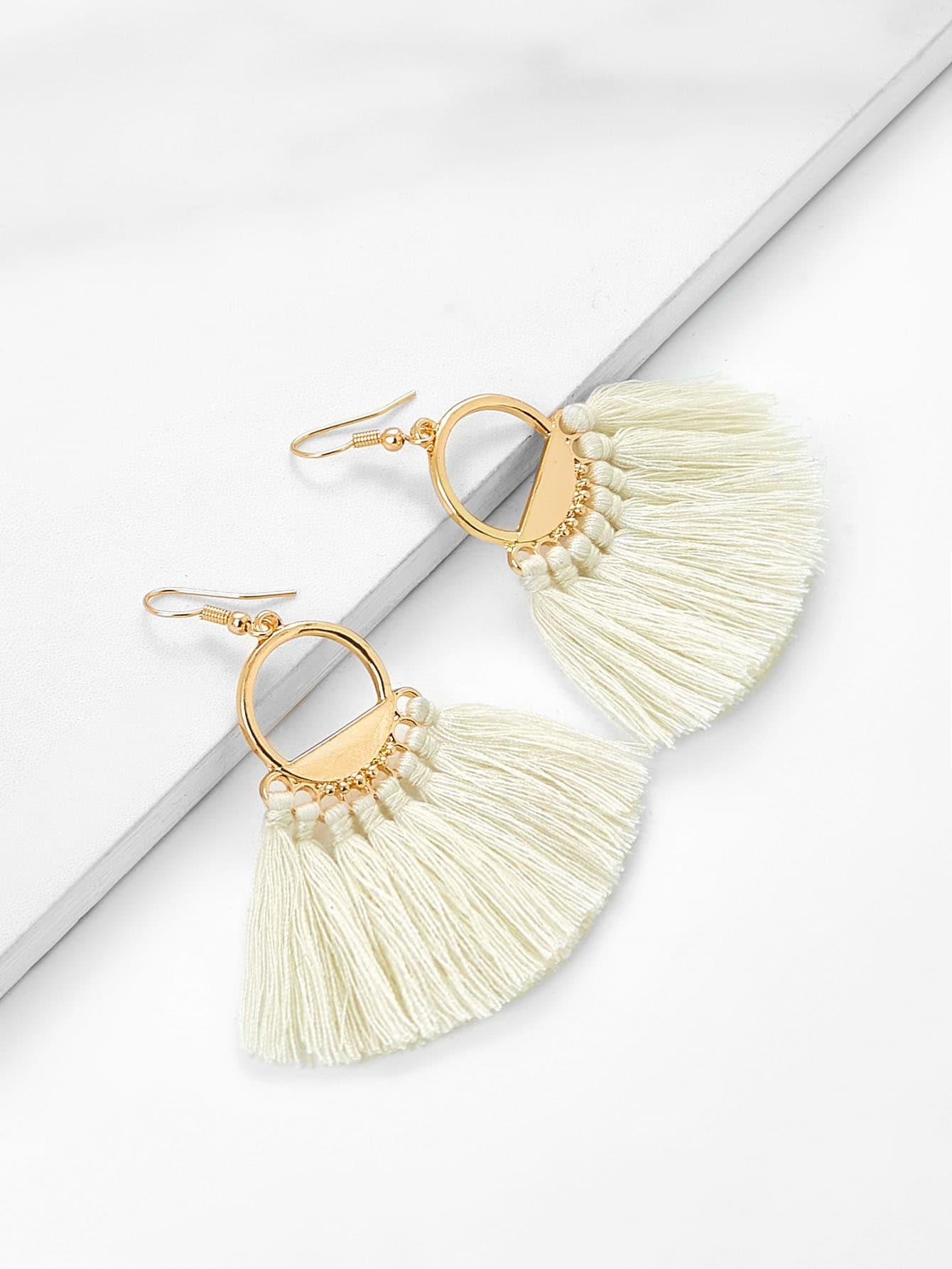 Tassel Drop Earrings silver plated strip tassel drop earrings