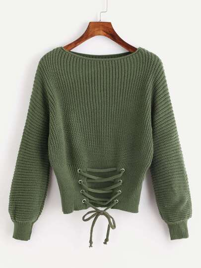 Eyelet Lace Up Front Knit Sweater