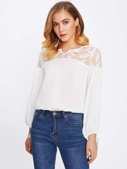 Feather Lace Yoke Tied Cuff Top