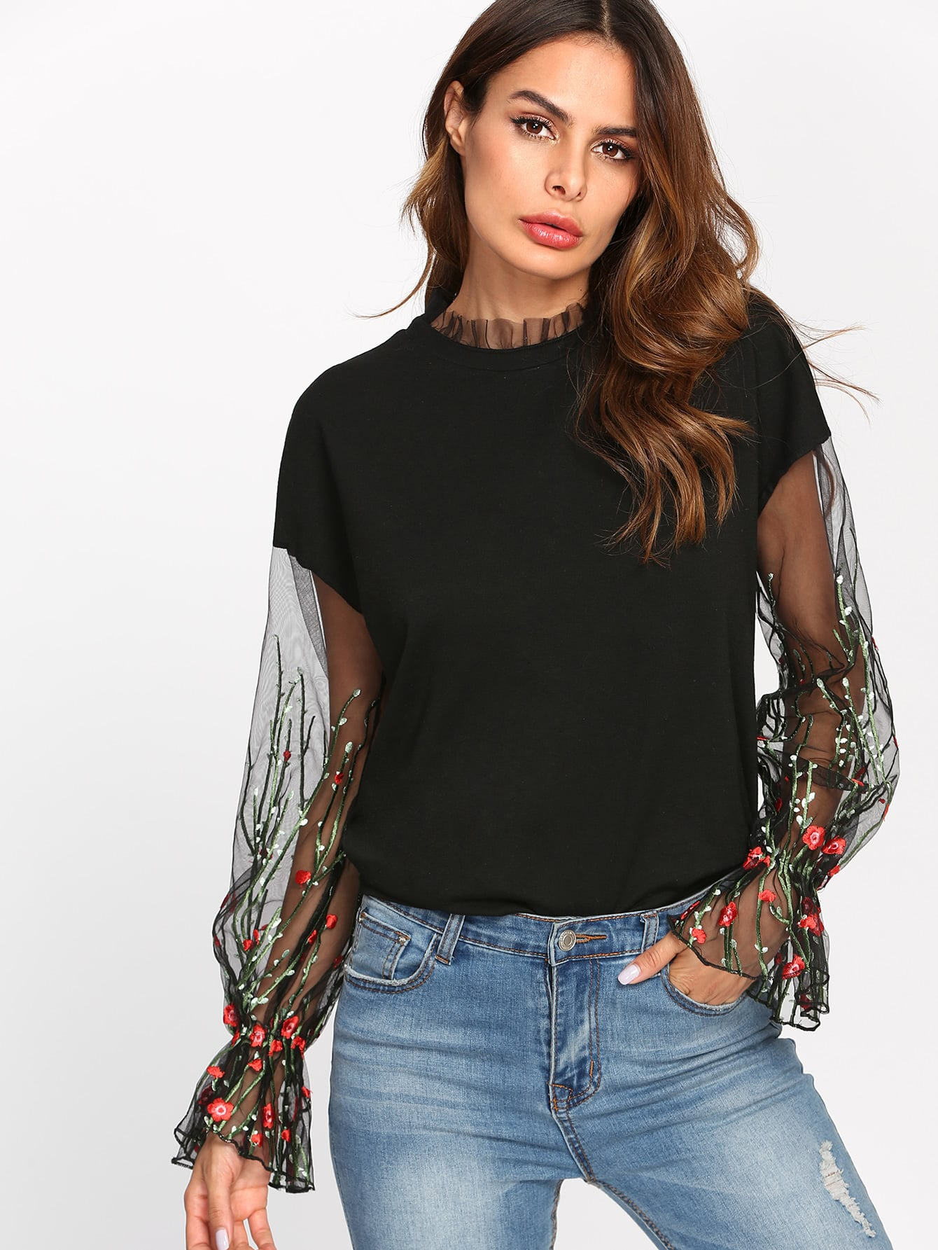 цены Botanical Embroidered Mesh Sleeve Sweatshirt