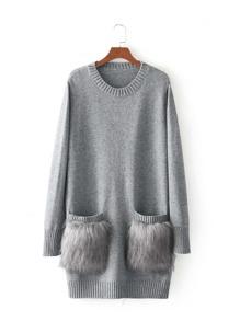 Faux Fur Embellished Pocket Sweater Dress