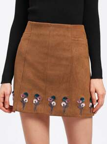 Zip Back Embroidery Skirt