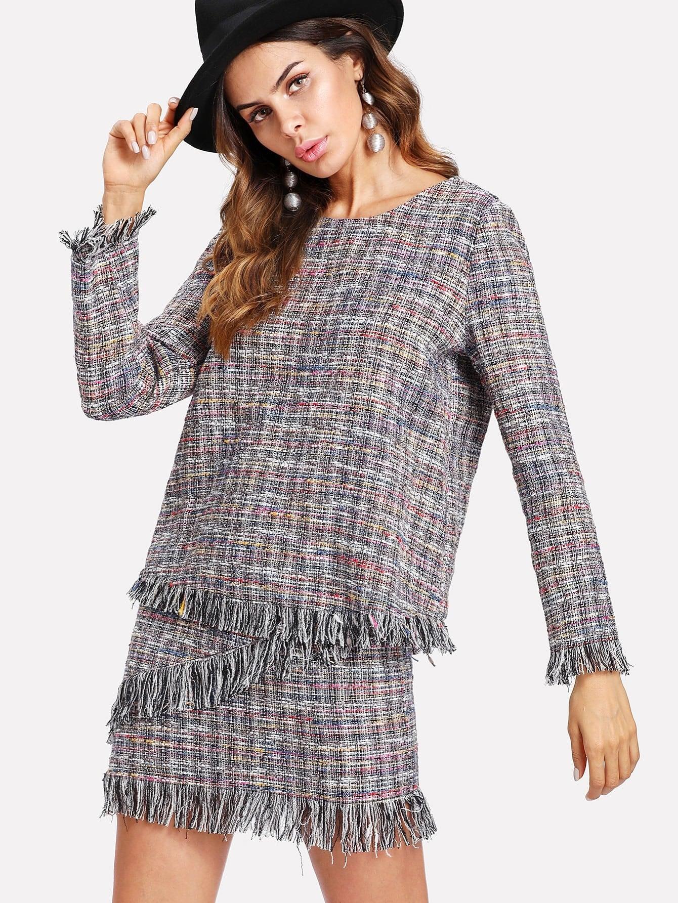 Fringe Trim Tweed Top & Skirt Set lace trim fringe detail tweed top