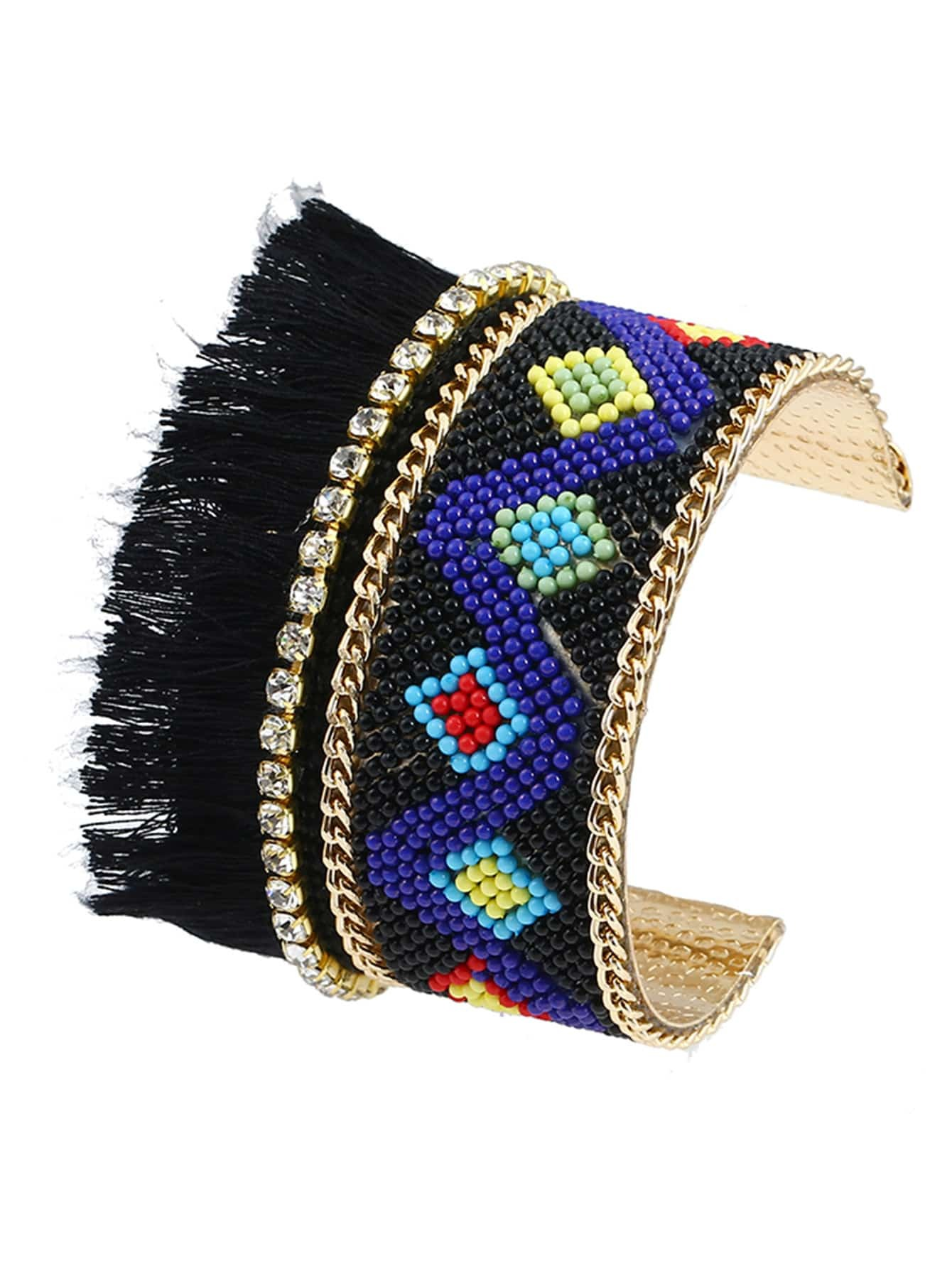 Fringe Trim Beaded Open Cuff