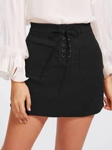 Grommet Lace Up Dual Pocket Skirt