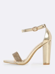 Crystal Embroidered Ankle Strap Heels GOLD