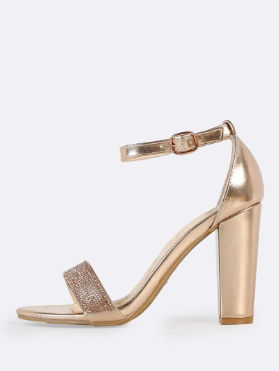 Crystal Ankle Strap Heels ROSE GOLD