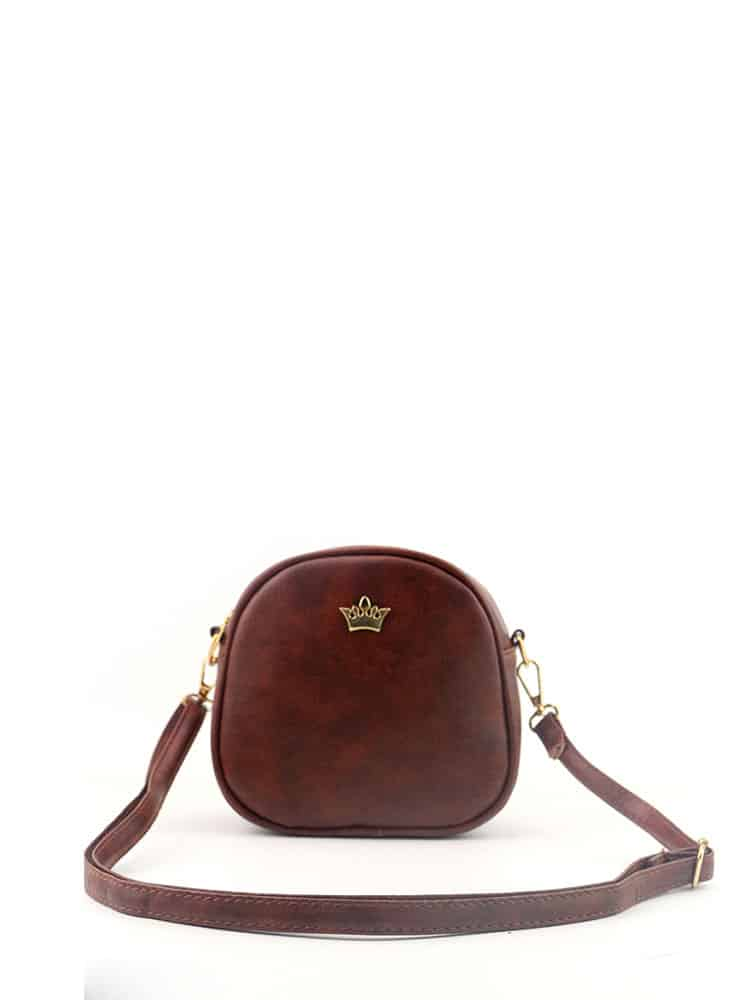 Crown Decorated PU Crossbody Bag