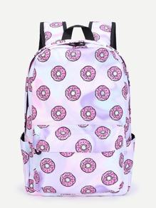 Donuts Print PU Backpack