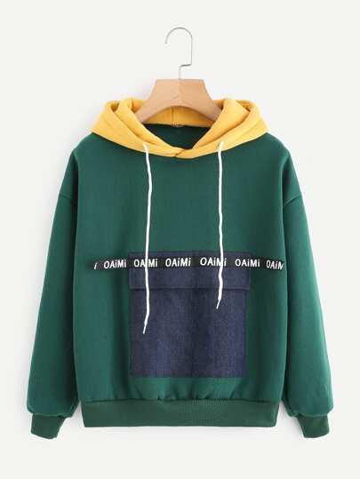 Color Block Pocket Front Hoodie
