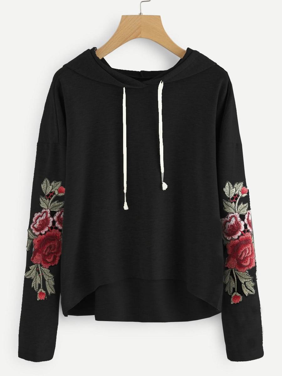 Drop shoulder rose applique hoodie shein sheinside