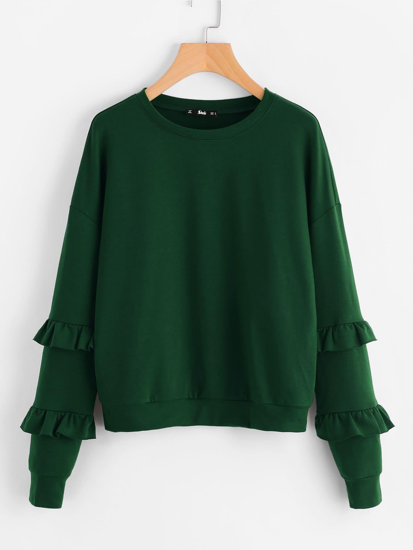 Drop Shoulder Ruffle Sleeve Sweatshirt drop shoulder flounce trim sleeve sweatshirt