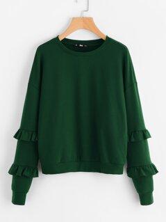Drop Shoulder Frilled Sleeve Sweatshirt