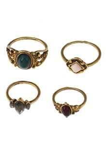 Mixed Stone Ring Pack 4pcs