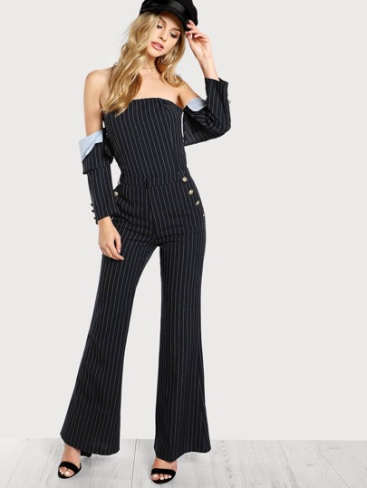 Striped Off Shoulder Top and Pant Set NAVY WHITE