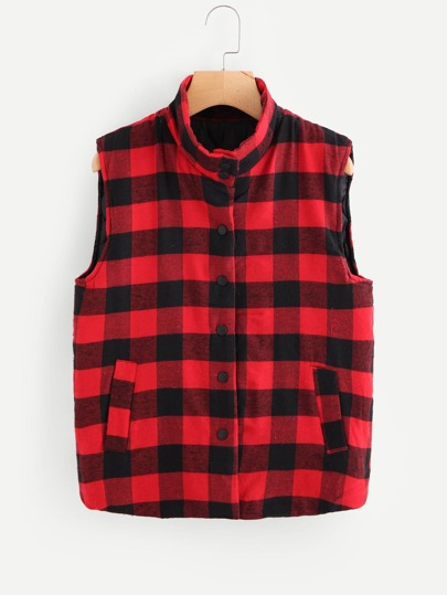Single Breasted Checked Vest Coat