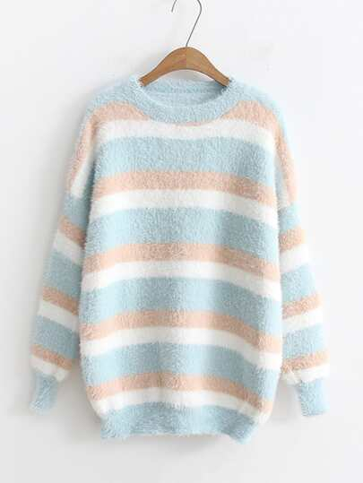 Block Striped Mohair Jumper Sweater