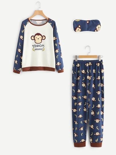 Monkey Print Long Pajama Set With Eyeshade
