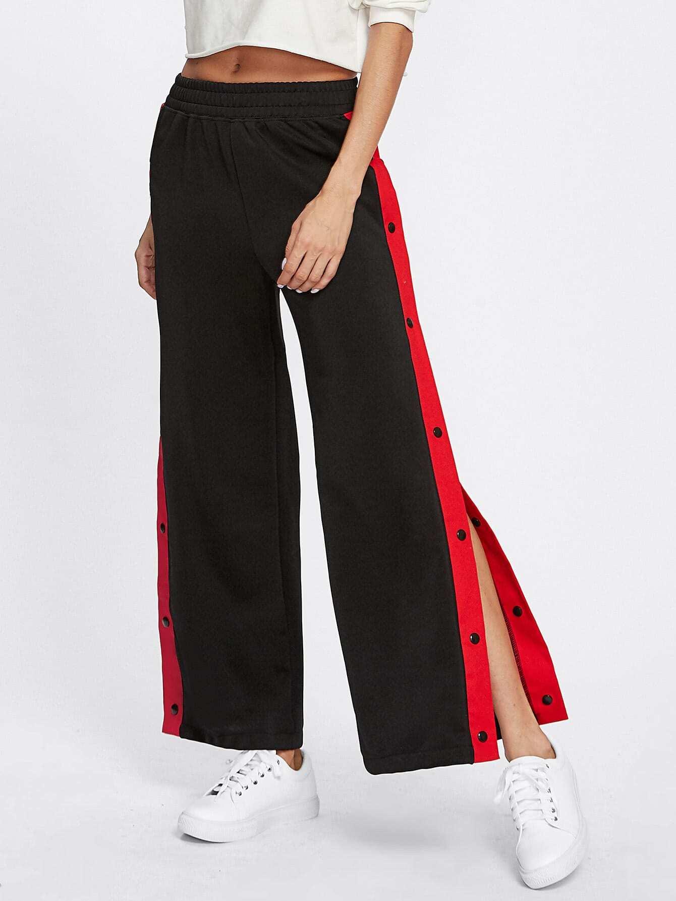 Contrast Snap Button Side Culotte Pants Emmacloth Women