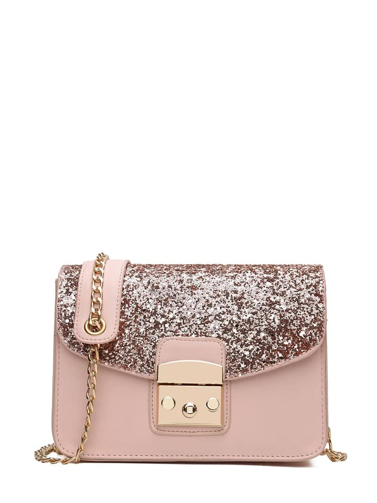 Glitter Flap PU Shoulder Bag With Chain flap pu chain bag