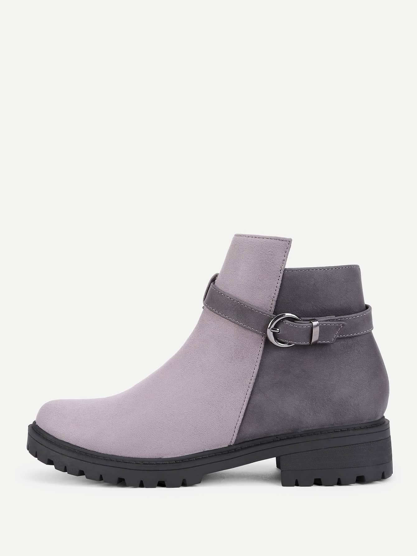 Buckle Decorated Round Toe Ankle Boots roommates наклейки для декора сафари