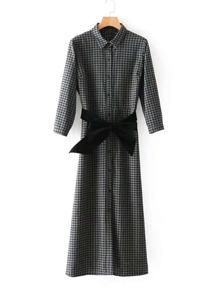 Contrast Bow Tie Gingham Maxi Shirt Dress