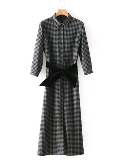Contrast Bow Tie Gingham Maxi Shirt Dress