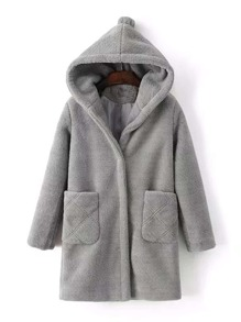 Fuzzy Hooded Coat With Pom Detail