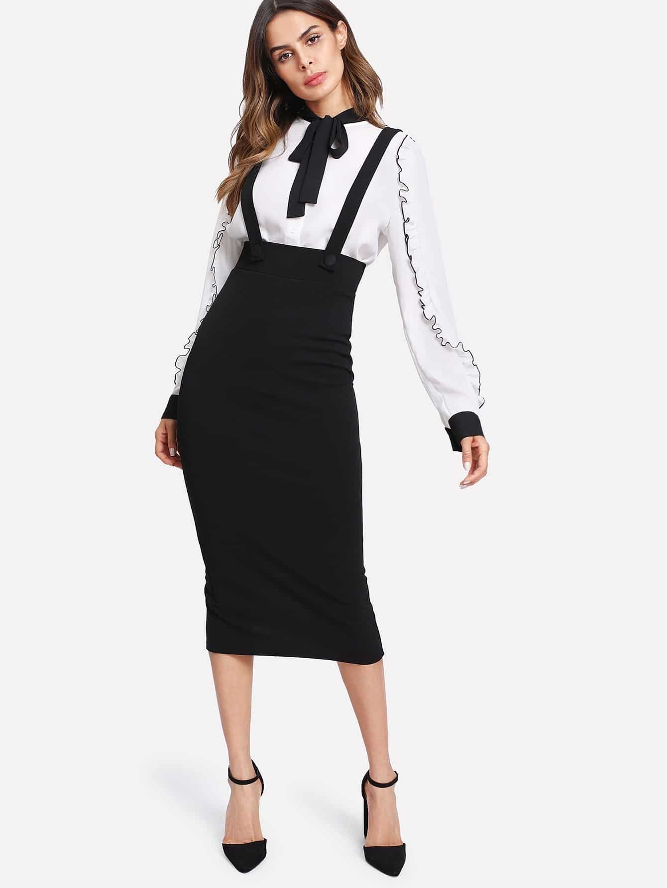 Slit Back Pencil Skirt With Strap grommet lace up slit back pencil skirt