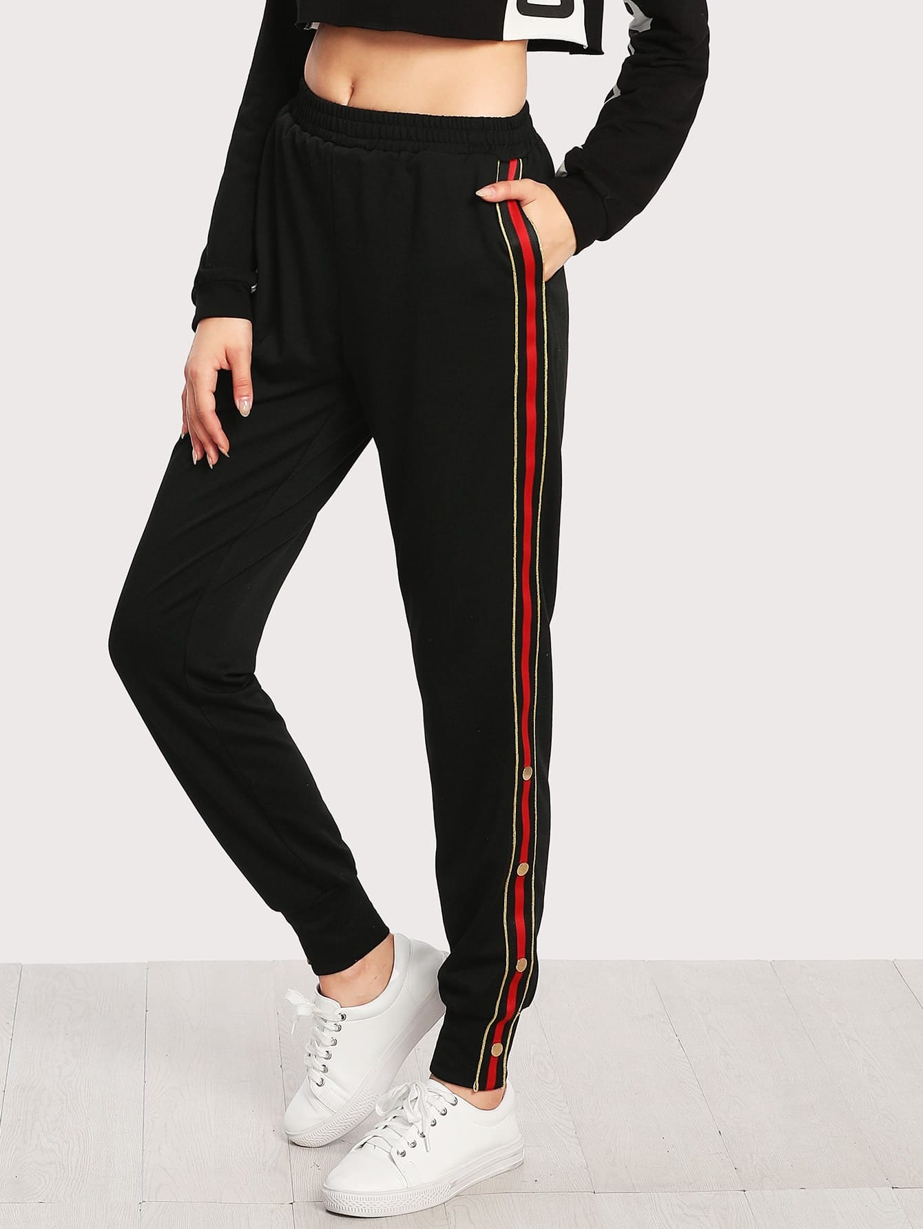 Image of Button And Striped Side Sweatpants