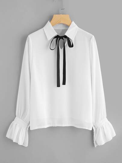 Fluted Sleeve Tie Neck Top