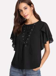 Eyelet Lace Up Flutter Sleeve Top