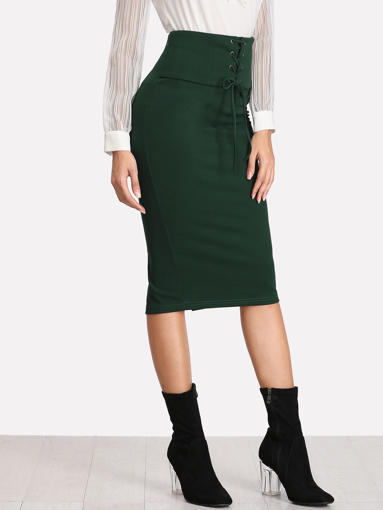 Grommet Lace Up Slit Back Pencil Skirt slit back pencil skirt with strap page 9