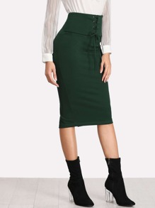 Grommet Lace Up Slit Back Pencil Skirt