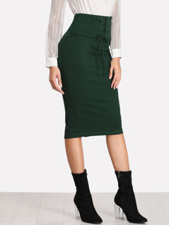 Grommet Lace Up Slit Back Pencil Skirt